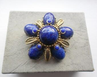 Sphinx Goldtone Brooch, Blue Stone Flower Brooch