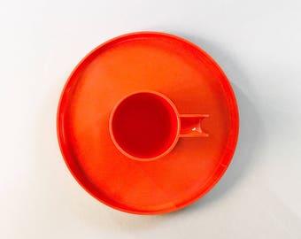 Vintage Orange Heller Max Mug / Plate Massimo Vignelli