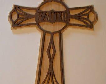 """Handmade Scroll Sawn 11"""" Faith Wooden Cross Wall Decor Statement of Faith"""