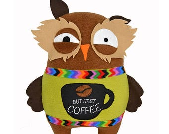 Sleep deprived owl coffee lover plush toy soft toy kawaii tired over worked night bird crazy busy pillow cushion plushie stuffed animal cute