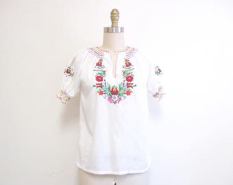 Vintage 1960s Peasant Blouse | Embroidered Floral 1960s 70s Boho Blouse | size small