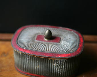 Vintage Metal Box, Round Red Tin, Old Rusty Box, Trinket Box