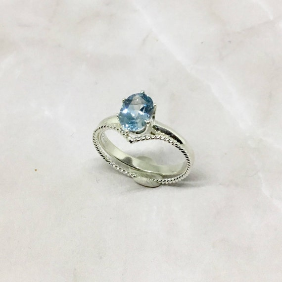 Blue Aquamairne Cubic Zirconia Stack Ring Set, Sterling Silver, Handcrafted, Jewelry, March birthstone, Gifts Under 30 Dollars, For Her
