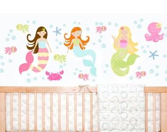 Mermaid wall decal/ Mermaid sticker/ Mermaid wall decor/ Girls Mermaid nursery/ Mermaid wall art/ Fabric wall decal