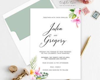 Wedding Invitation, Semi Custom Wedding Stationery - Sweet Tropics (Style 13757)