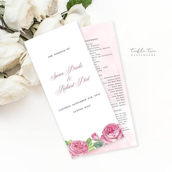 Semi Custom Wedding Stationery - Programs - Vintage Rose (Style 13694)