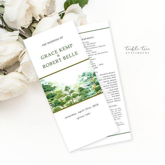 Semi Custom Wedding Programs - Forest Dreams (Style 13777)