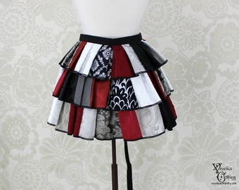 "Steampunk Ruffle Bustle Top Skirt - 3 Layer, Sz. M - Black, Red, & White Patchwork - Fits 27""-60"" Waist or Upper Hip"