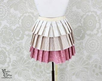 """Steampunk Ruffle Bustle Overskirt - Ivory & Pink - 3 Layer, Sz. M - Fits up to 55"""" Waist/Upper Hip -- Ready to Ship"""
