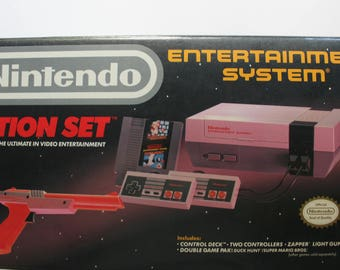 Vintage Original Nintendo Action Set Entertainment System with Box - TESTED - 1980s