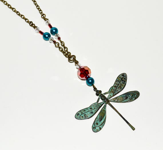 Verdigris Dragonfly - Red