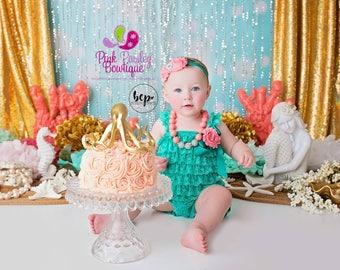 Baby Girl 1st Birthday Dress, Cake Smash Outfit, Green Baby Outfit,  Baby girl 1st birthday outfit, Under the Sea Birthday, Little mermaid