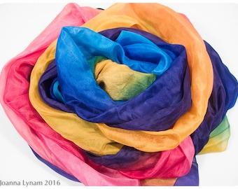 "Rainbow silk wrap. Waldorf silk playcloth. 36x72"". Rainbow silk shawl. Painted silk scarves. Handpainted silk scarf. Hand painted silk shawl"