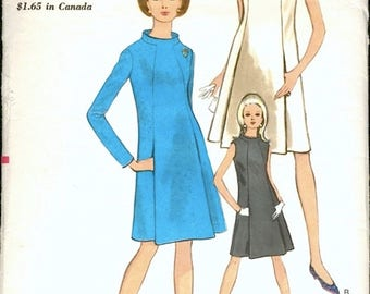 Mod Vintage 1960s Vogue 7138 Standing Neckline A-Line Dress with Panel Pleats Sewing Pattern B32