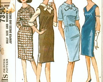 Versatile Vintage 1960s McCall's 7356 Half Size Slim Sheath Dress or Jumper with Collar Interest Sewing Pattern B37 and B39