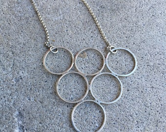 Sterling Silver Circles - Geometric Jewelry - Modern - Simple - Minimalist - Brushed Finish - Triangle - Christmas Gift
