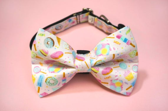 Pink Sweet Treat Cup Cake Cotton Candy Lolli Pop Popsicle Girl Dog Bow Tie and Collar