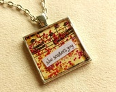 she scatters joy - Vintage Art Pendant - Medium Square - Inspirational Message - FREE SHIPPING