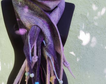 SALE! Purple mist,soft warm middle-thick wet felted unique woolen scarf,one-of-a-kind winter felt garment, art-to-wear hand felted accessory