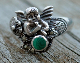 Vintage Sterling Silver Cherub Cupid Marcasite Malachite Style Nouveau Band Ring Size 8.75