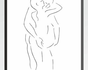 Art print of a sexy nude couple sketch. Minimalist line art. Man and woman figures in erotic embrace.