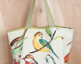 Birds of a Feather Green Tote Bag- Festive stripe lining- Linen and Cotton Tote- by beckyzimmdesign