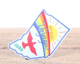 Vintage Scout Patch / 1986 HCGSC Voyager Patch / Girl Scout Patch / Boy Scout Patch / Grunge Patch / Rainbow Patch