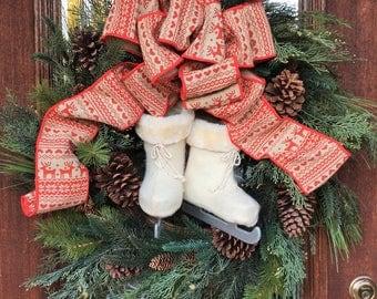 ICE SKATES CHRISTMAS Wreath with Burlap Bow