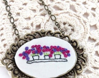 Hand Embroidery Necklace - Necklace - Hoop Art - Embroidery Flower Vase Necklace - Vegan Necklace - Pendant Necklace - Embroidery Necklace