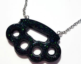 Black Drippy Knuckle Duster Holographic Resin Necklace