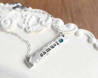 Pewter Bar Necklace . Personalized Jewelry . Birthstone Bar . Bar Necklace . Birthstone Necklace . Mothers Necklace . Pewter Jewelry . Gi