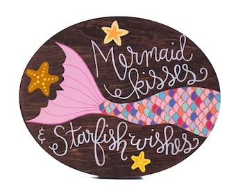 Mermaid sign, mermaid art, mermaid decor, mermaid painting, nautical nursery art, mermaid nursery art, mermaid bathroom