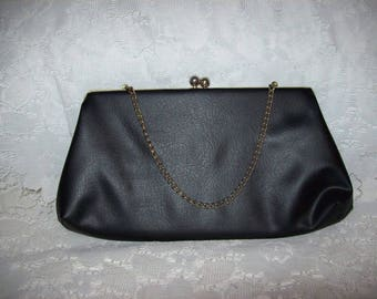 Vintage 1960s Ladies Black Clutch Bag w/ Kiss Lock & Hang Chain by HL USA Only 6 USD