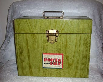 Vintage Porta File Organizer Green Wood Grain Look Metal Office Storage Box Only 8 USD