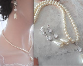 Pearl necklace and earrings set, Long pearl drop earrings, Swarovski 6mm pearls, BEST SELLER, Brides pearl jewelry set, Wedding jewelry set