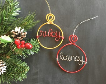 Christmas Tree Ornament Set, Christmas Ornaments Personalized, Holiday Ornament, Custom Ornament, Name Ornament, Christmas Gift for Coworker