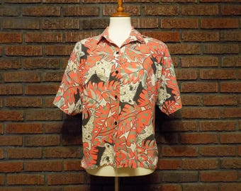 Vintage 80s Jungle Cat Boxy Fit Button Down Shirt Women's L / Oversized