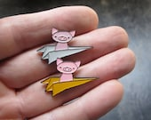 Soft Enamel Pig Pin - Flying Pig Pin - Pig in a Paper Plane Pin