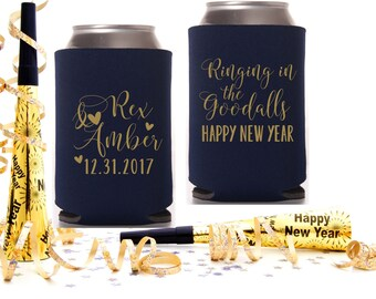New Years Eve Wedding | Personalized Wedding Can Coolers | NYE Wedding Party Favor | Ringing in 2018 | FREE Shipping