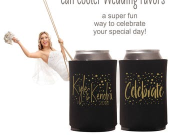 Celebrate Wedding Can Coolers | Wedding Party Favor | Personalized  for Bride and Groom | Let's Party Can Coolers | FREE Shipping