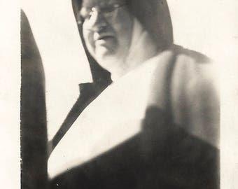 "Vintage Snapshot ""Mother Superior"" Low Angle Shot Nun Wimple Habit Found Vernacular Photo"