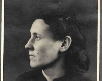 """Vintage Photo """"The Intellectual"""" Woman With Strong Profile Black & White Found Vernacular Photo"""