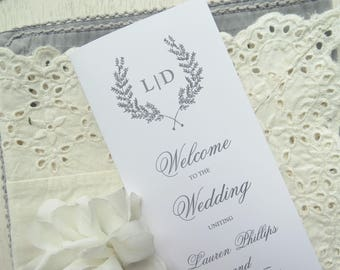 Wedding Programs  |  Instant Download PDF - Printable Wedding Programs |  Wedding Program |  Folded  |  CLASSIC Collection Style 02