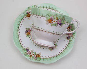 Vintage Foley Floral Tea Cup and Saucer Made in England  Bone China Footed Teacup Saucer Tea Party Vintage Alice in Wonderland #RB