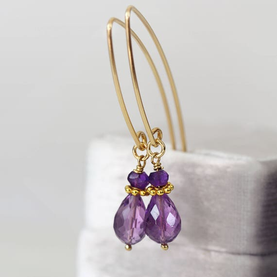 Amethyst Drop Earrings - Dainty Teardrop Earrings