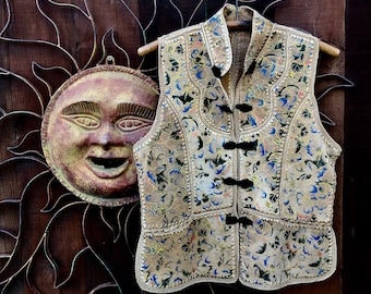 Reserved, Vintage 1970's Crochet Hand Painted Suede Vest, Painted Panel Crochet Suede Vest, Bohemian, Folk