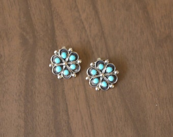 Vintage Zuni Turquoise Clip Earrings Sterling Silver Small Size Native American Earrings