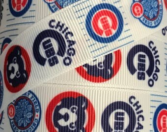 7/8 Inch Grosgrain Ribbon - Printed Grosgrain Ribbon - Chicago Cubs Ribbon - Ribbon By The Yard - Supply - MLB Baseball Ribbon - Cubs Logos