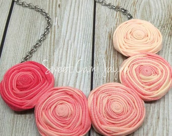 Pink Ombré Bib Necklace Rosette Necklace Fabric Jewelry Wearable Art Statement Necklace Unique Necklace Textile Jewelry Fabric Accessory