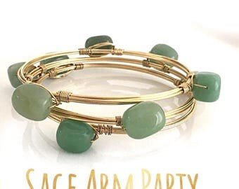 Sage Green Bangles, Gold Wire Wrapped Bangles, Green Arm Party, Arm Green Bracelet Stack